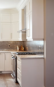 kitchen, cabinets, stove, oven, counter, home, house