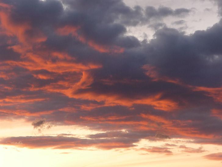 céu da noite, pôr do sol, clima tempo, nuvens, arrebol