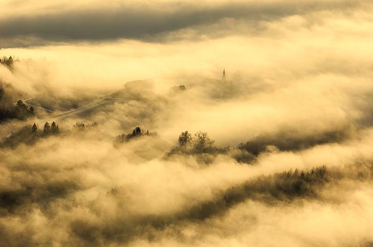 nascer do sol, manhã, Alvorada, amanhecer, céu, nuvens, nevoeiro