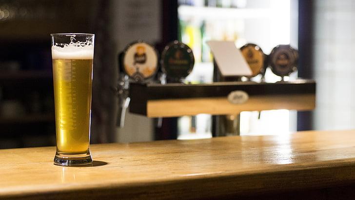 cervesa, bar, barra, beguda, taula, cervesa - alcohol, l'interior