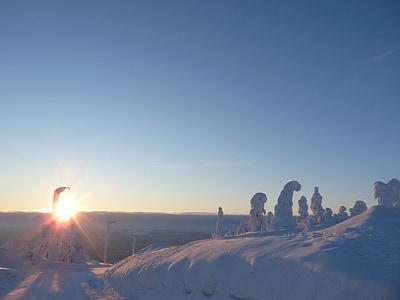 finland, lapland, snow landscape, snow, winter, setting sun