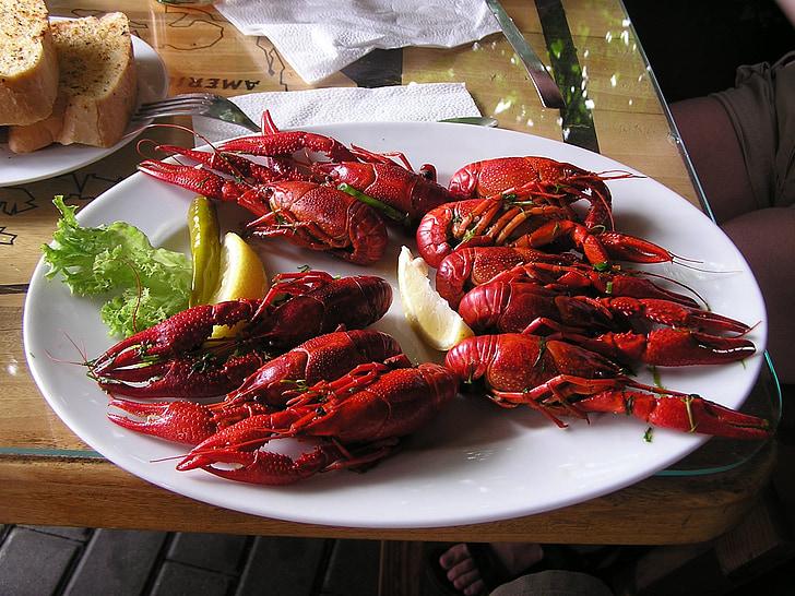 raci fierti, languste, produse alimentare, bucătărie, gourmet, fierte, crustacee