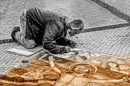 ember, művész, utca, festő, festészet, Art, az emberek