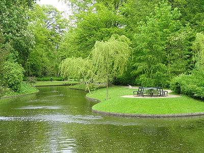 copenhagen, denmark, park, grass, shrubs, landscape, scenic