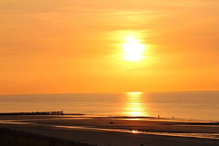 mare, tramonto, spiaggia, natura, Abendstimmung, umore di sera nel lago, sole di regolazione