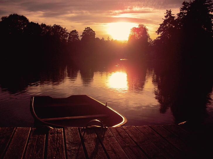 Boot, kvällssolen, webben, Pier, solnedgång, skymning, solljus