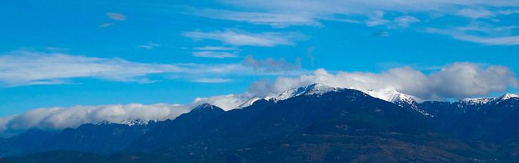 сняг, синьо, пътуване, сезон, планински