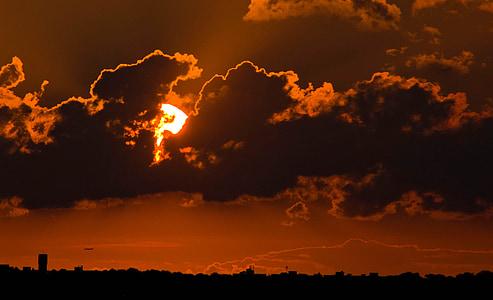 βραδινό ουρανό, ηλιοβασίλεμα, μεταλαμπή, abendstimmung, ατμοσφαιρική, σούρουπο, σύννεφα