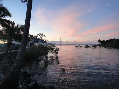 물, 분위기, 분위기, abendstimmung, 로맨스, 일몰, 바다