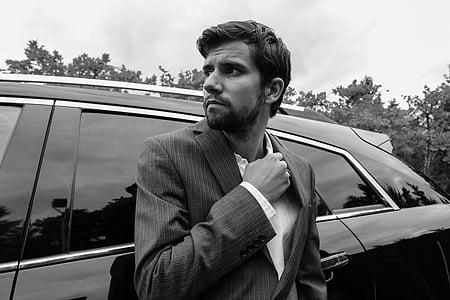 세련 된, 남자, 한 벌, 남성, 비즈니스, 한 벌에 있는 남자, 자동차