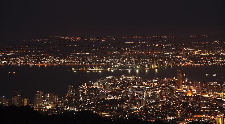 penang night scene, from penang hill, penang, malaysia, southeast asia, asia, travel