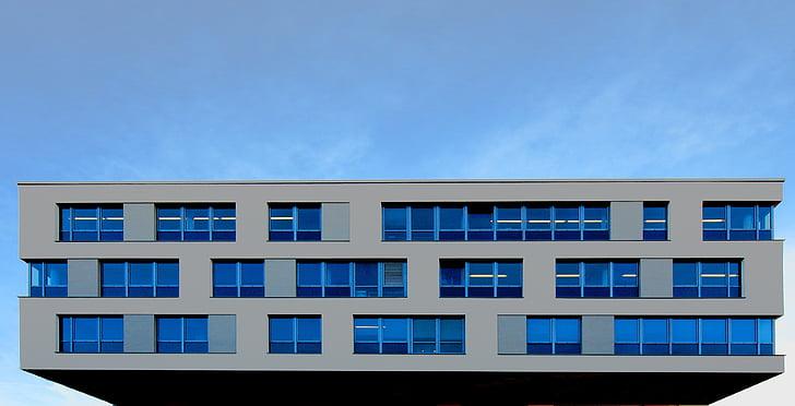 hoone, büroohoone, arhitektuur, kaasaegne, akna, fassaad, aknaga