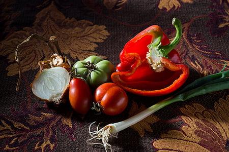 papryka, pomidor, pora, warzywa, świeżość, zdrowie, kuchnia
