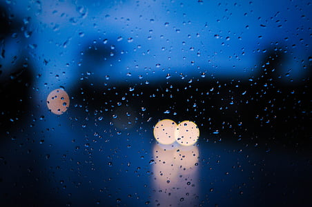 rain, wet, weather, rain drops, light, transparent, twilight