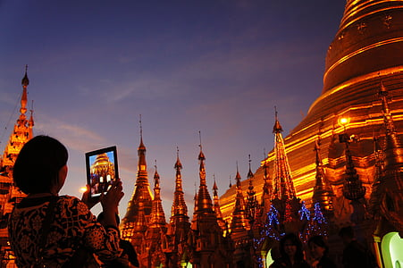 shwedagon pagoda, golden, ipad, photograph, pagoda, tourist information
