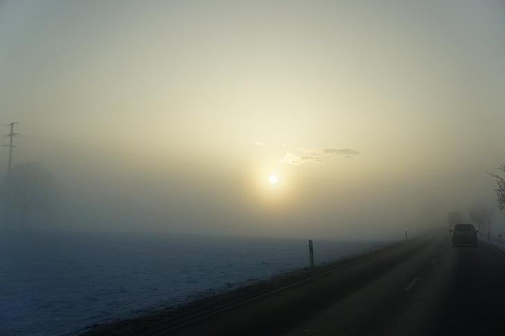 morning sun, road, mood, grey, winter, winter sun, sun