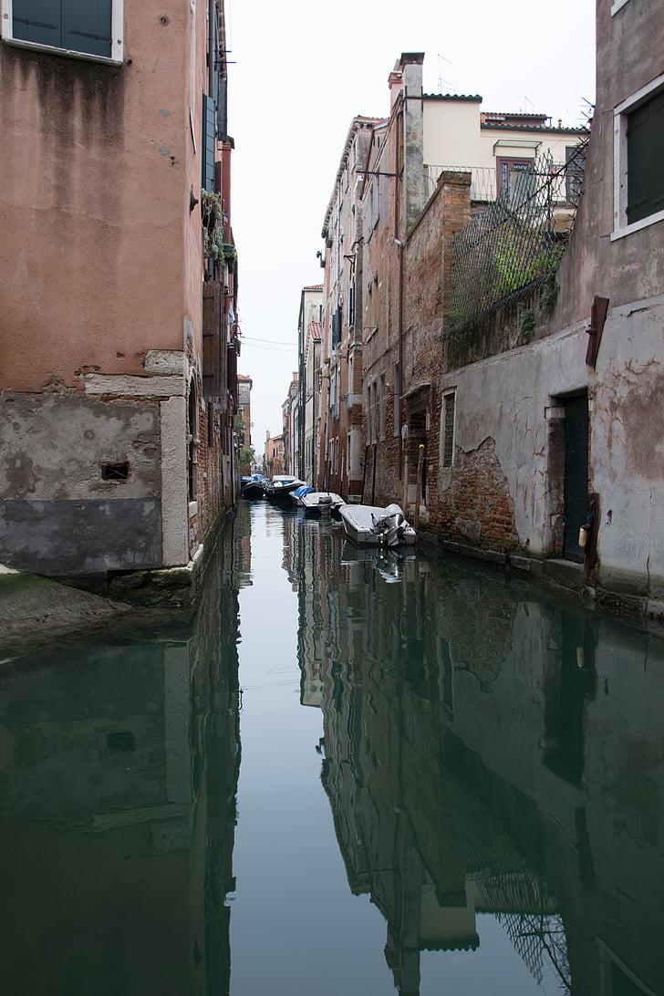 Venècia, canal, l'aigua, tranquil, cases