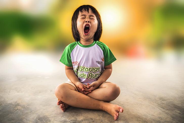 zívání, malá holčička, zívat, dítě, Děvče, malý, dětství