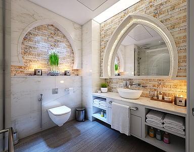 badeværelse, kabinet, stearinlys, vandhane, gulvet, møbler, hjem