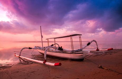 strand, boot, Dawn, schemering, Oceaan, zand, zee