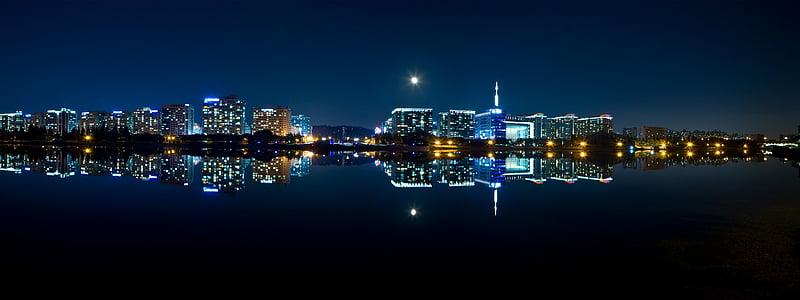 night view, city, panorama, night, seoul, modern, the night sky