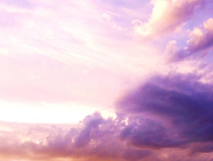 dangus, rožinė, Saulėlydis, Debesis, spalva rožinė, debesys, Gamta