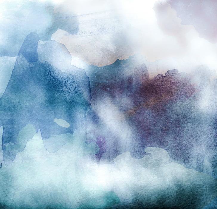 akvarellek, réce, kék, háttér, sötét, Art, szín