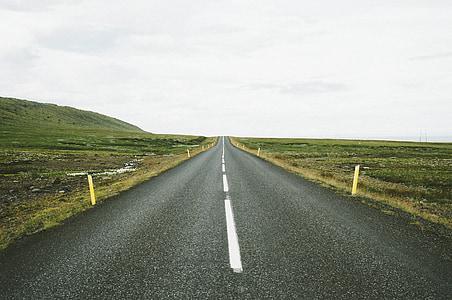 l'autopista, carretera, marcadors, viatges, viatge, asfalt, carrer
