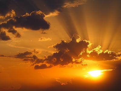 cel, estat d'ànim, Afterglow, posta de sol, núvols, raigs