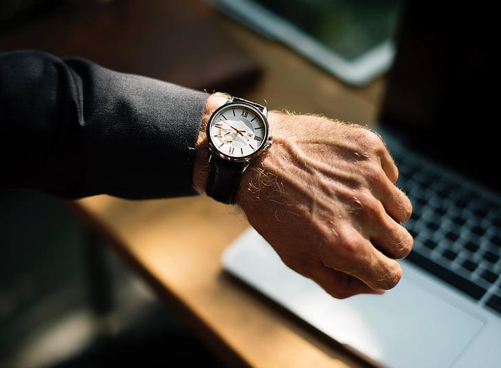 personas, hombre, mano, muñeca, reloj, tiempo, negocios