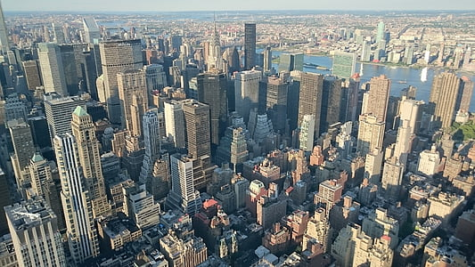 ciutat de Nova york, ciutat, gratacels, panoràmica