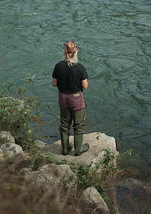 fisherman, river, fishing, fishing rod, boots, one man only, one person