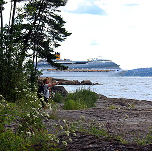 Oslo, Norge, Oslofjord, skib, Skandinavien, krydstogt, ferie