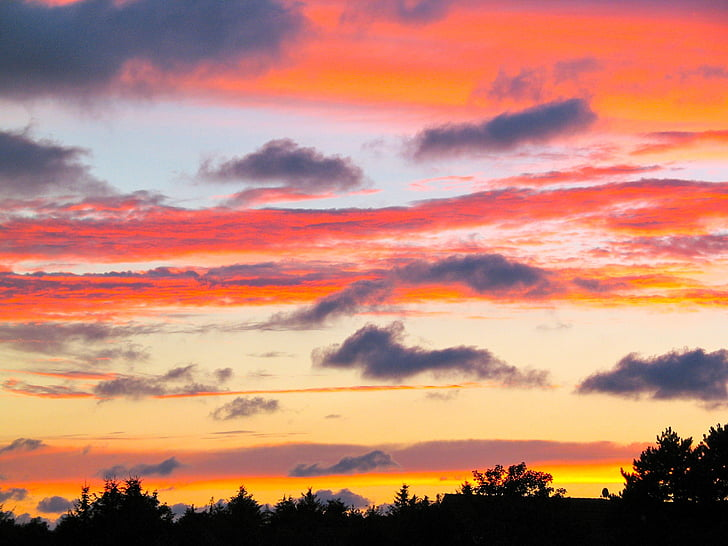 solnedgång, kvällshimmel, solen, Sky, naturen, skymning, Cloud - sky