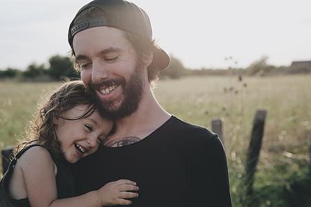 home, noia, somrient, pare, xicot, adult, Unió
