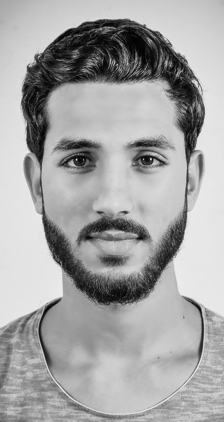 black and white, man, person, portrait, beard