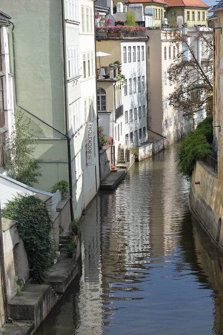reflection, channel, prague, cities, europe, landscape, city