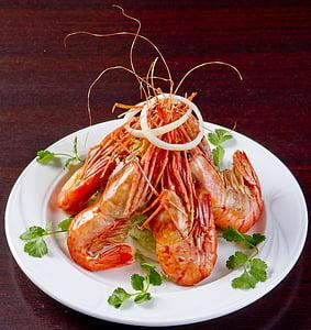 mat, koreanska köket, Bräserad tigerräkor, näringslära, välsmakande, restaurang, för finsmakare