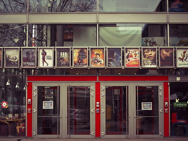 cinema, movie theater, movies, input, posters, doors, facade
