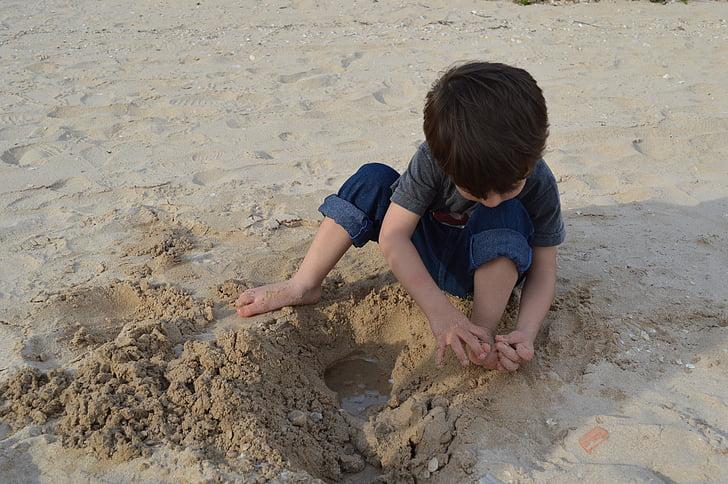 přehrávání, hrát, dítě, písek, radost dítěte, léto