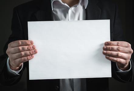 hârtie, mână, afaceri, card, om, Holding, costum