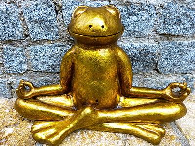 détente, méditation, grenouille, Or, Yoga, Mettez-vous à l'aise, calme intérieur