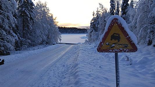 traffic sign, snowy, winter mood, snow landscape, lapland