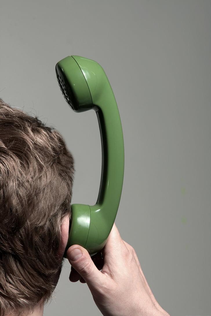 communication, error, no connection, man, listeners, phone, person