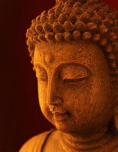 moudrost, Zen, meditace, buddhistický, pohoda, obličej, socha