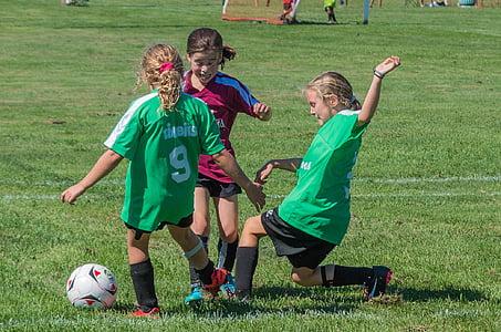 soccer, summer, sport, grass, child, soccer ball, girls