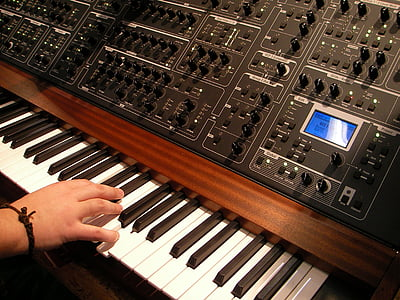 synthesizer, music, musical instrument, keyboard instrument, keyboard, buttons, analog