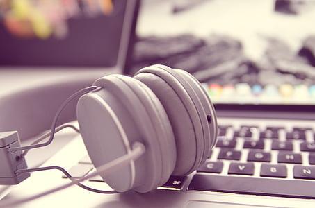 notebook, laptop, headphones, office, hardware, laptop computer, computer