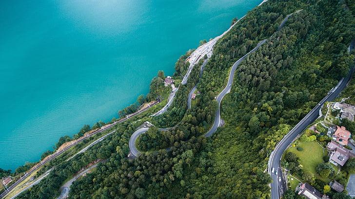 aerial view, winding road, ocean water, aerial, landscape, drone, vertical