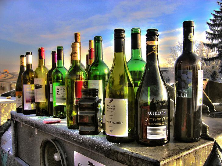 alkolismus, ampolles, vidre, contenidor, recipient de vidre, l'alcohol, beguda